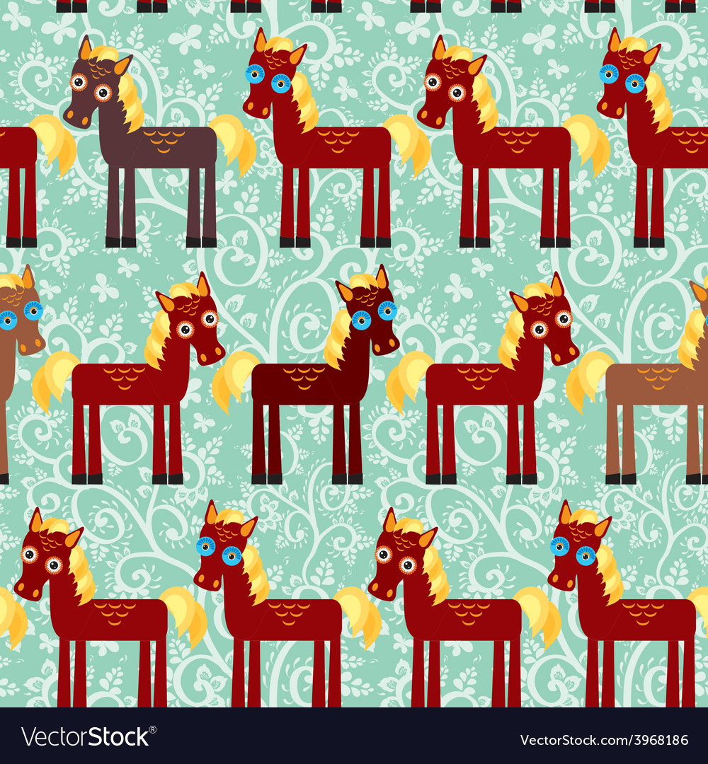 Brown horse on a blue floral background seamless vector | Price: 1 Credit (USD $1)