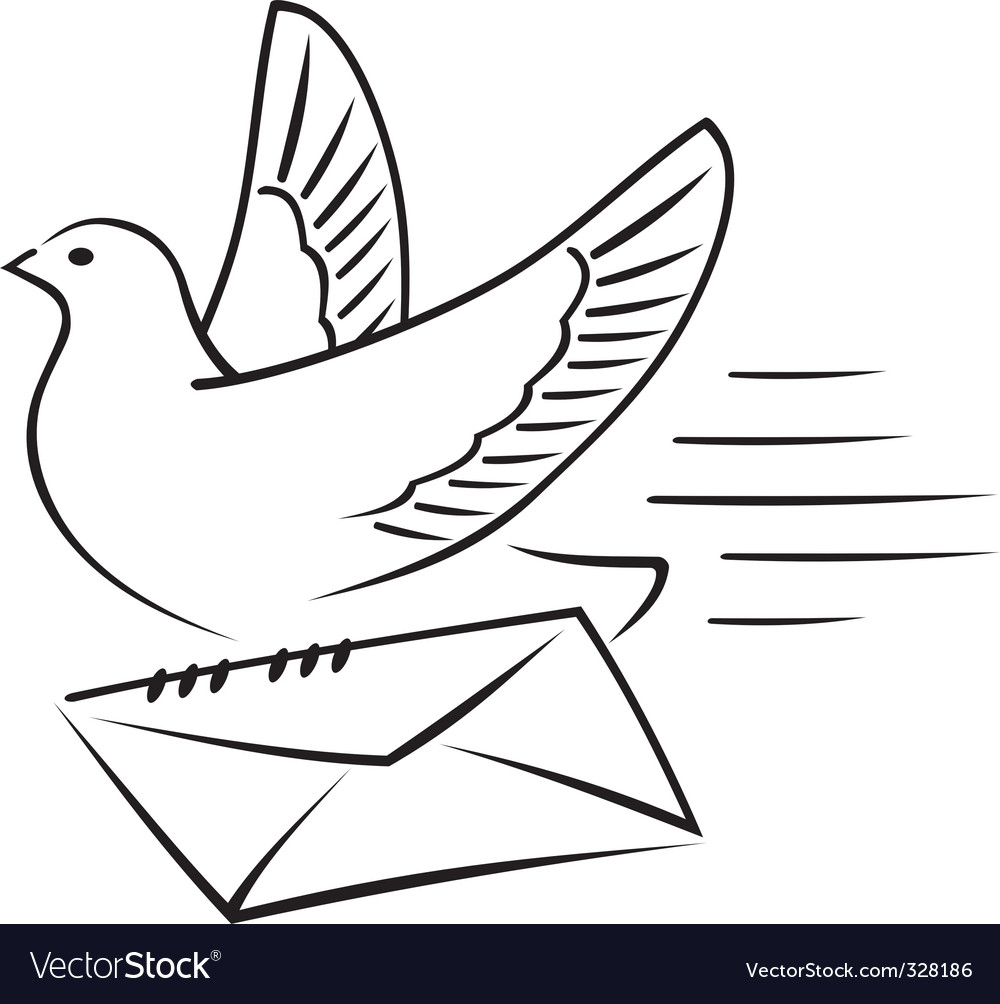 Carrier pigeon with letter vector | Price: 1 Credit (USD $1)