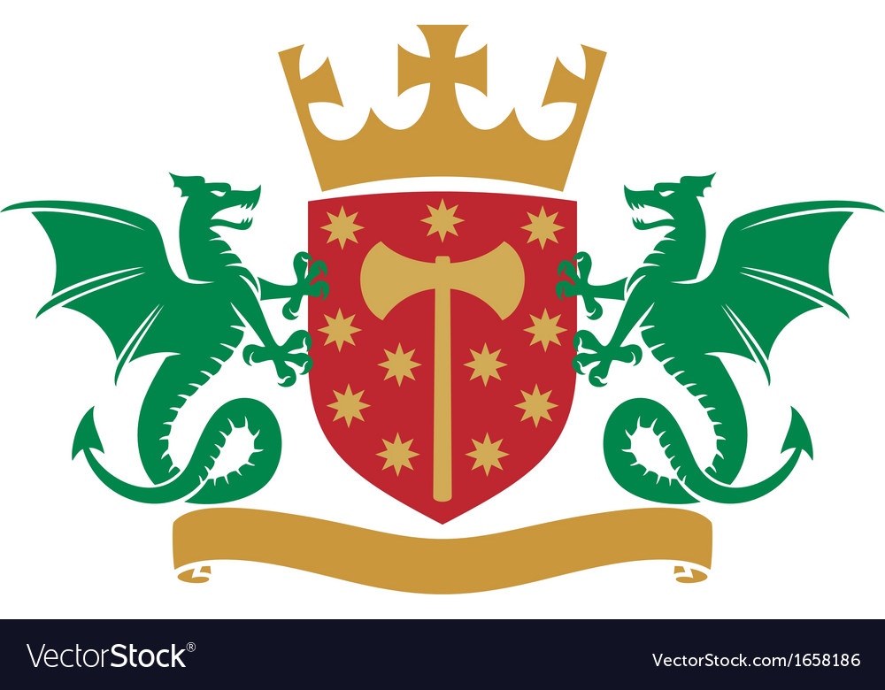 Coat of arms - dragons shield crown and banner vector | Price: 1 Credit (USD $1)