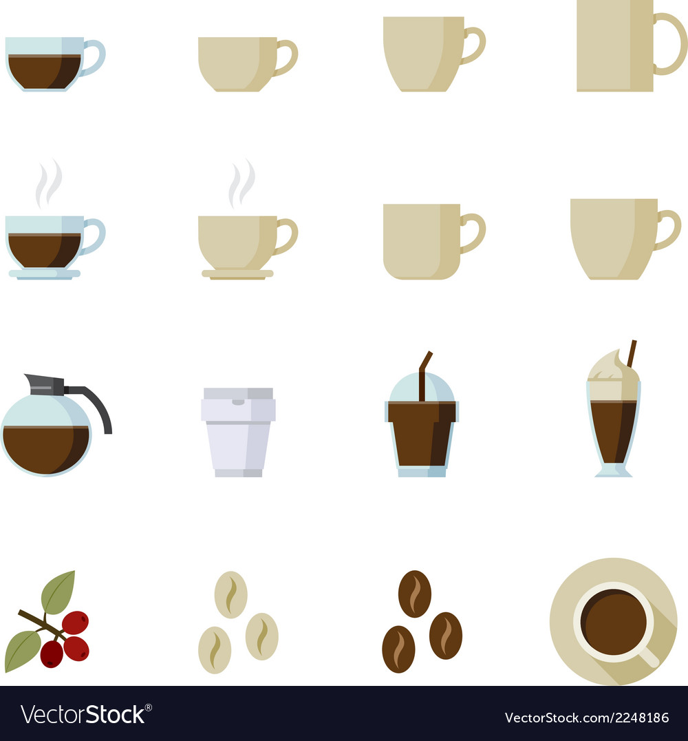 Coffee and coffee cup icons vector | Price: 1 Credit (USD $1)