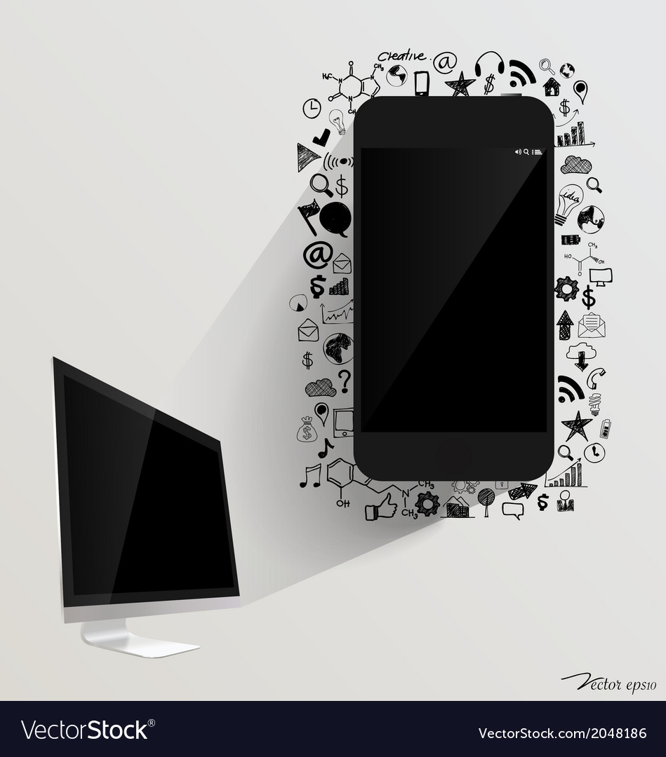 Computer display and touchscreen device with vector | Price: 1 Credit (USD $1)