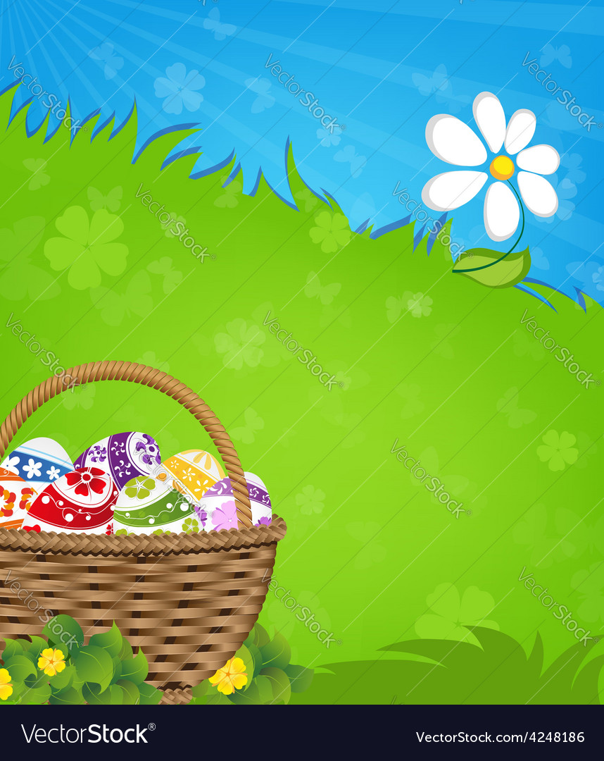 Easter basket and flower vector | Price: 3 Credit (USD $3)