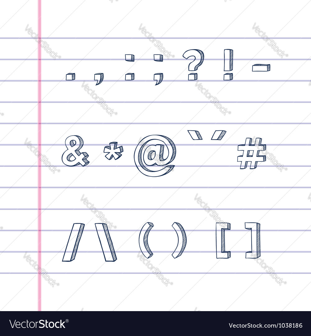 Hand drawn text symbols on lined paper vector | Price: 1 Credit (USD $1)