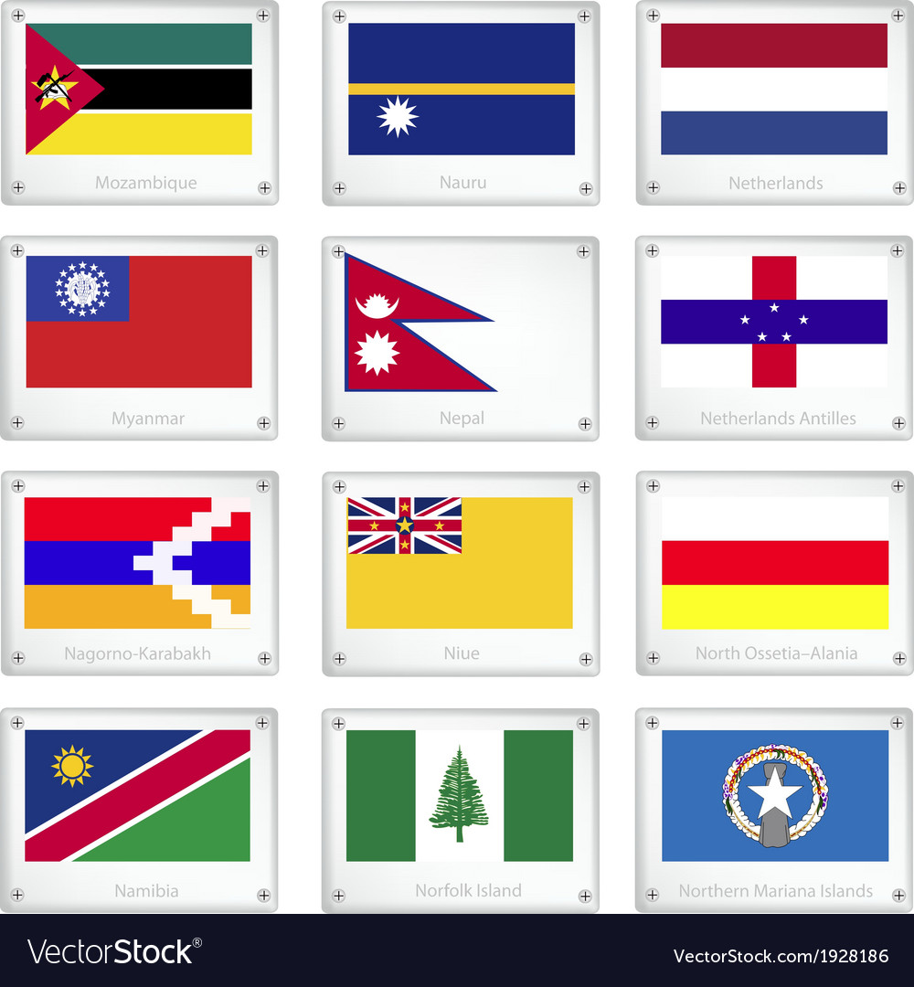 The official national flags on metal texture plate vector | Price: 1 Credit (USD $1)
