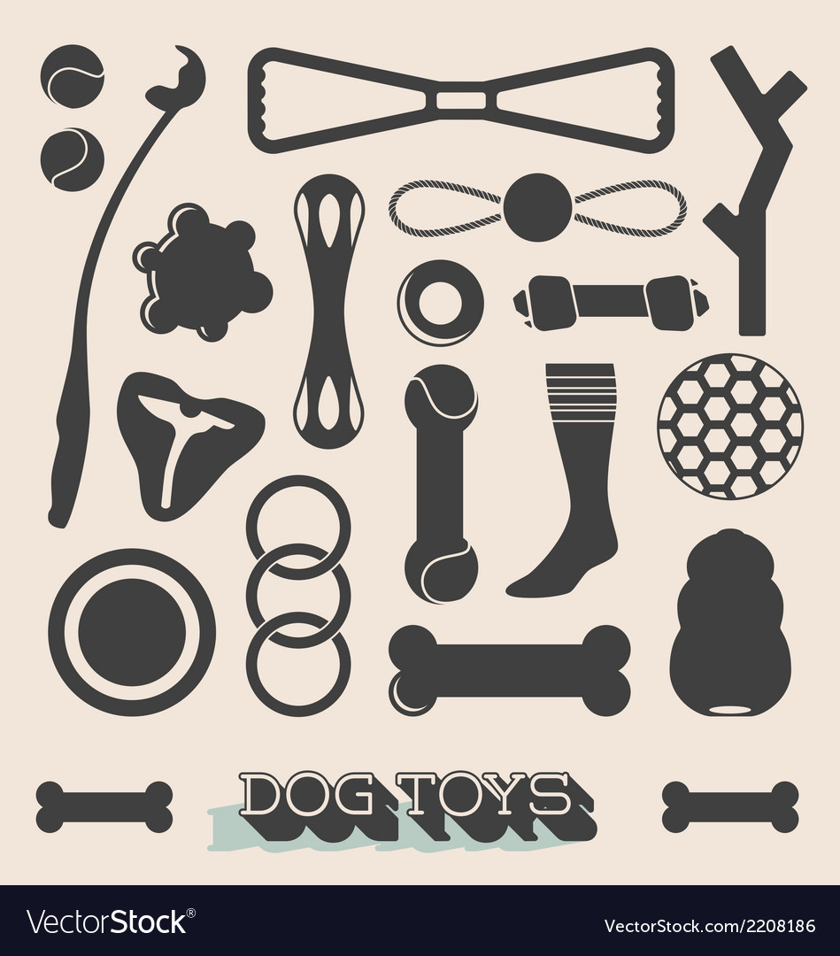 Set of dog toy icons and objects vector | Price: 1 Credit (USD $1)