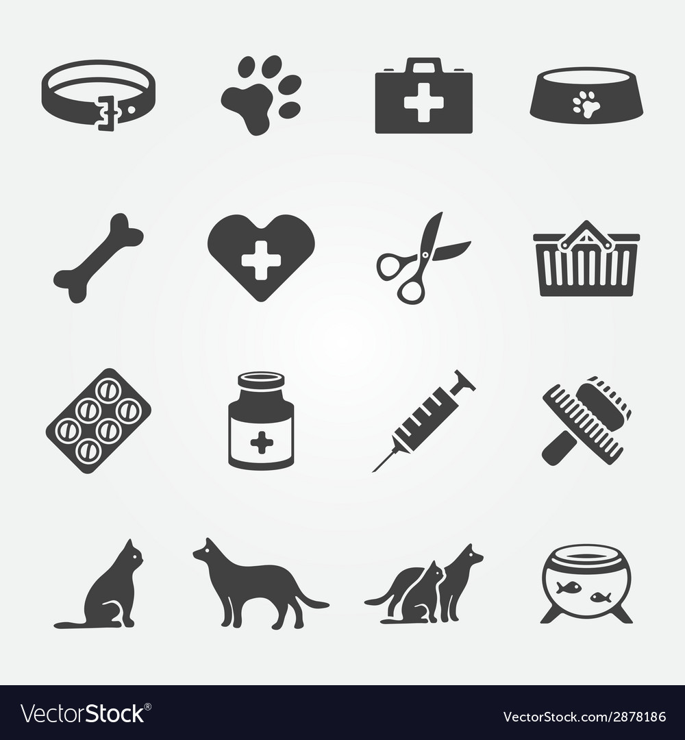 Veterinary pet icons set vector | Price: 1 Credit (USD $1)
