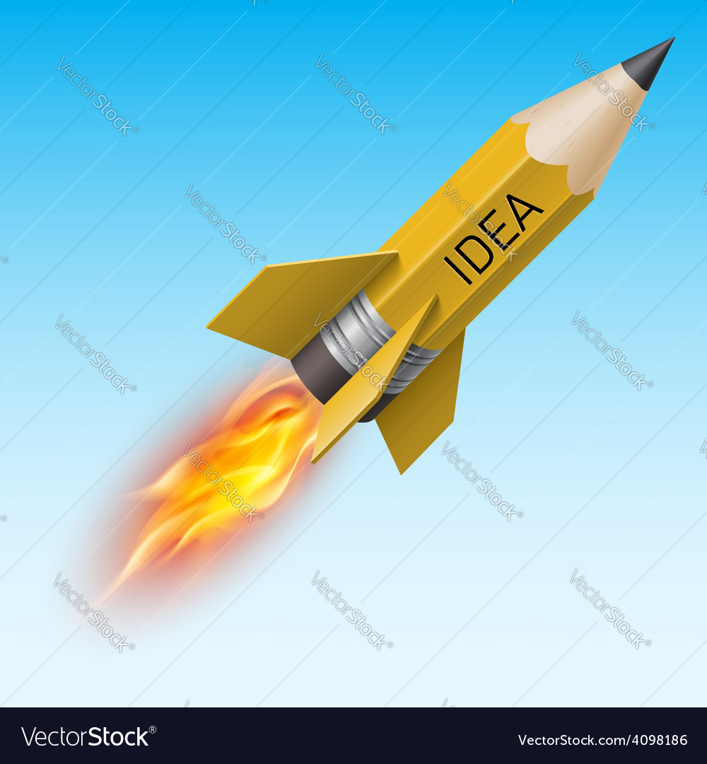 Yellow pencil as flying rocket vector | Price: 3 Credit (USD $3)