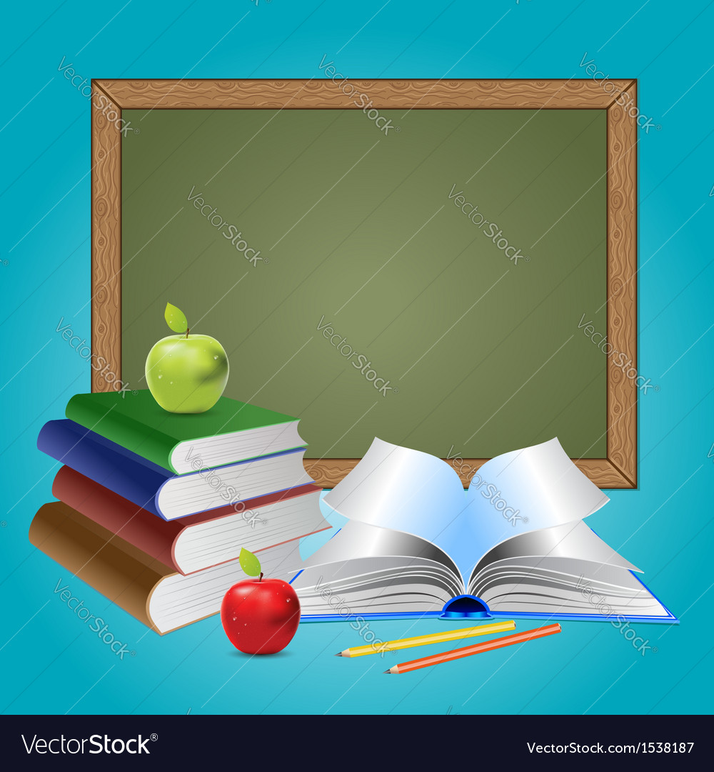 Chalkboard and books vector | Price: 1 Credit (USD $1)