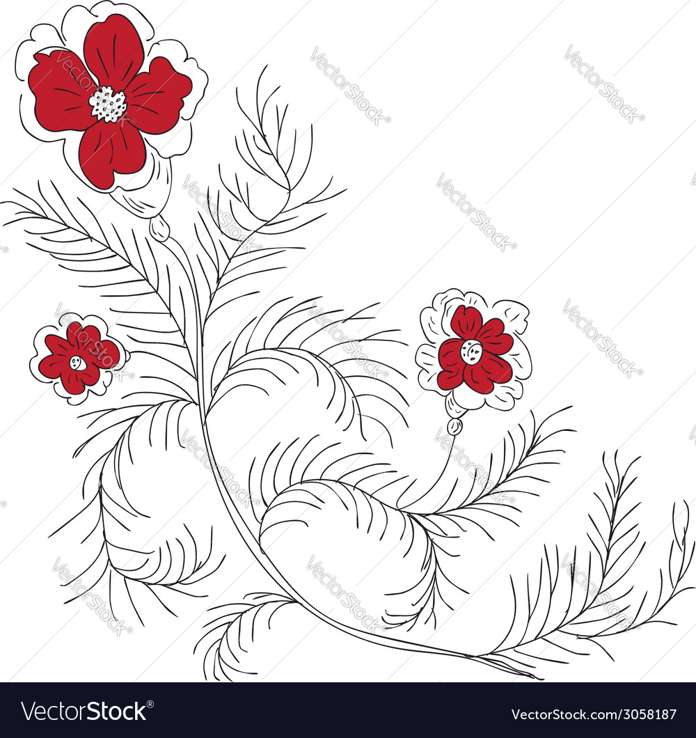 Doodle flowers vector | Price: 1 Credit (USD $1)