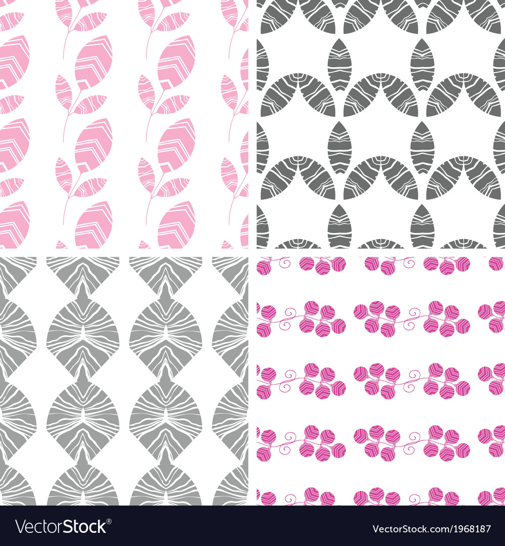 Four abstract pink gray textured leaves seamless vector | Price: 1 Credit (USD $1)