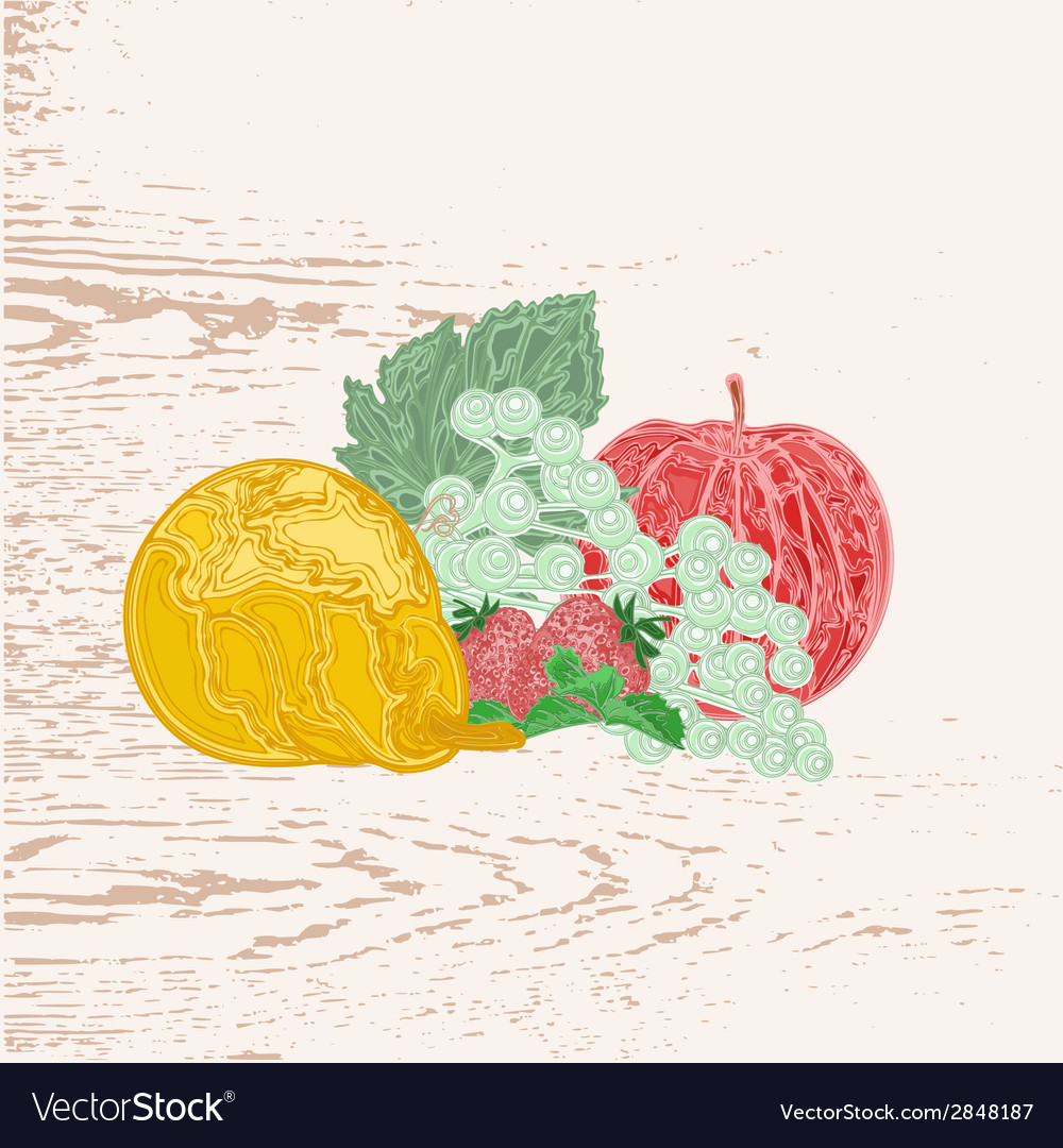 Fruits as engraving vintage vector | Price: 1 Credit (USD $1)