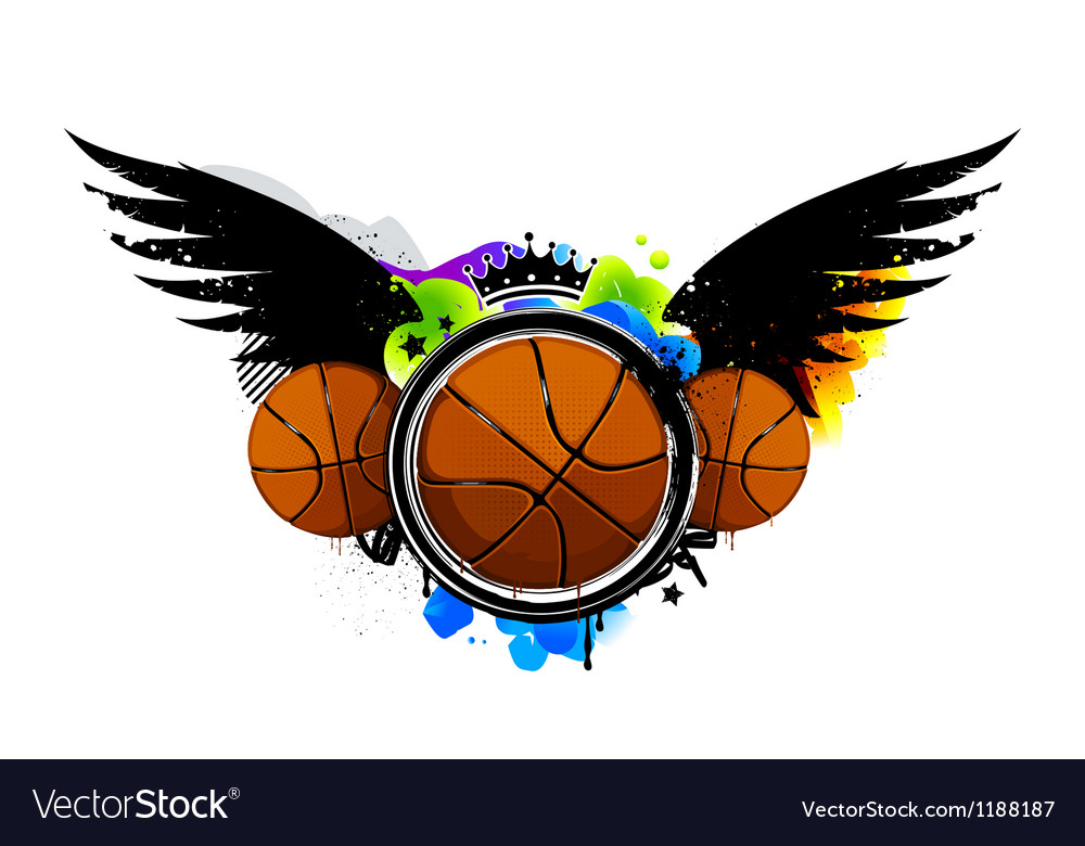 Graffiti image with basketballs vector | Price: 1 Credit (USD $1)