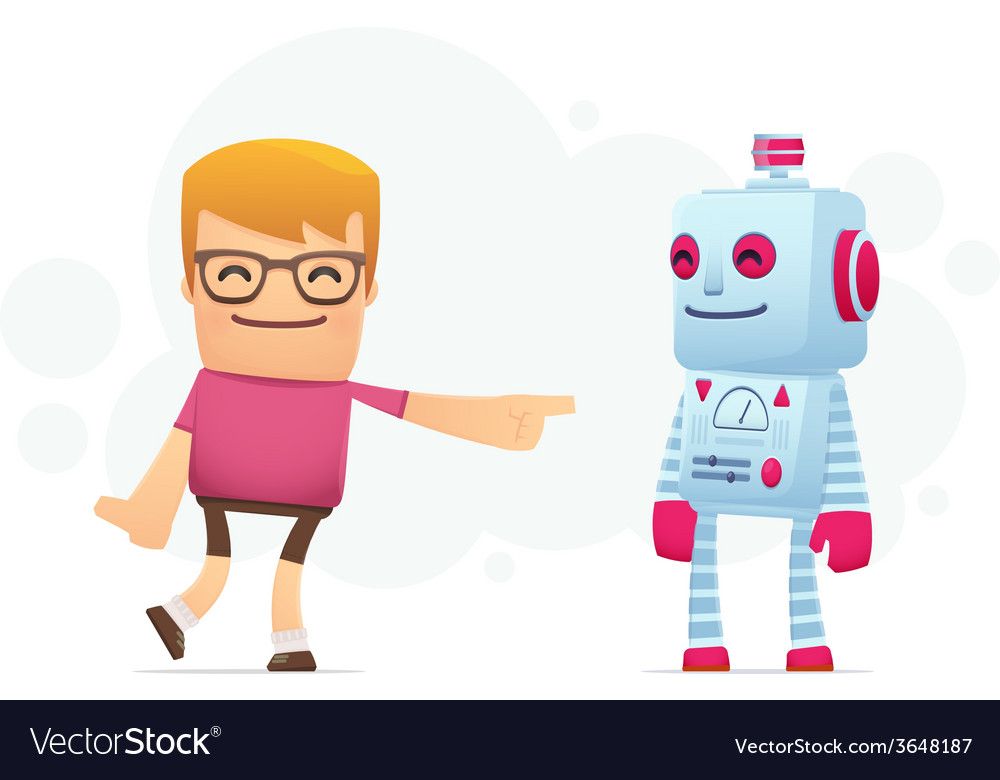 Manager advertises new assistant robot vector | Price: 1 Credit (USD $1)