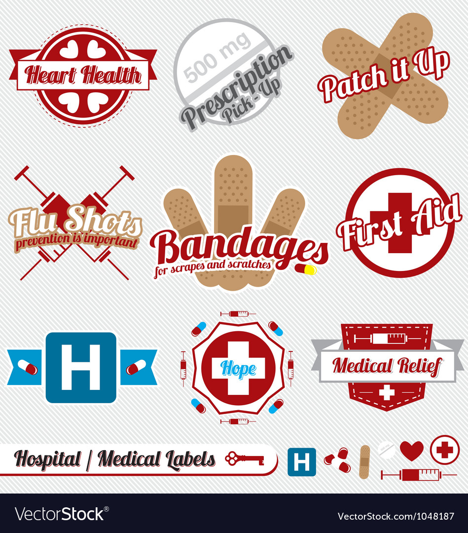 Medical and hospital labels and icons vector | Price: 1 Credit (USD $1)