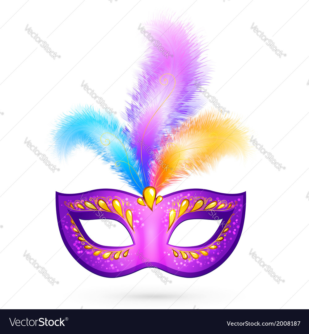 Violet carnival mask with feathers vector | Price: 1 Credit (USD $1)