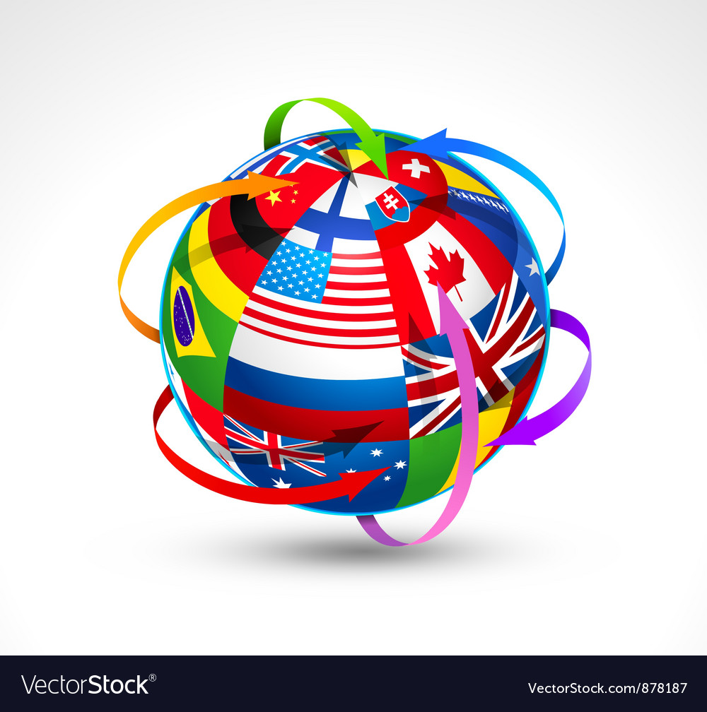 World flags sphere vector | Price: 3 Credit (USD $3)