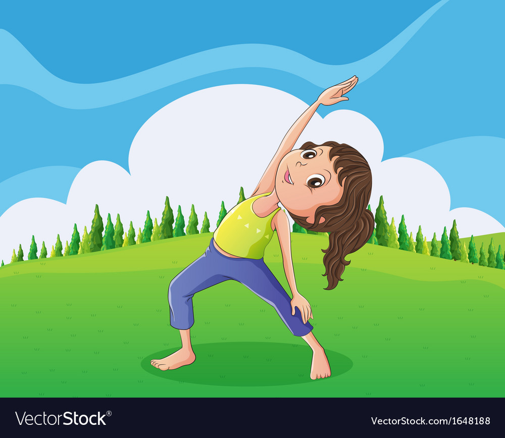 A cute little girl exercising at the hilltop vector