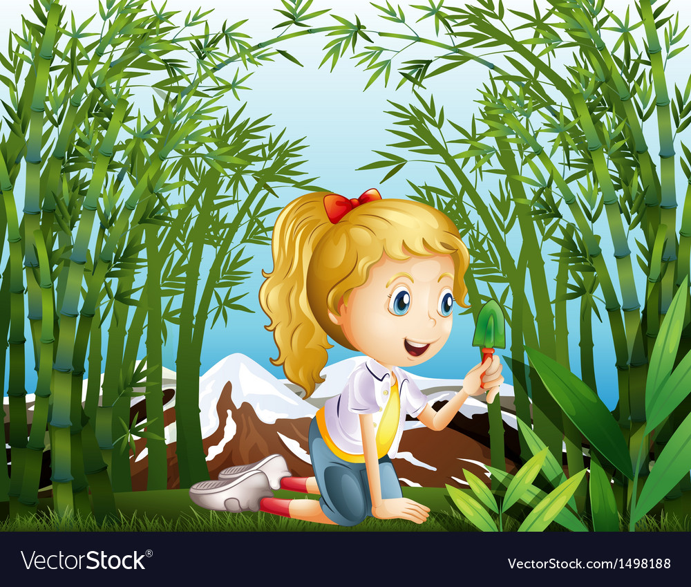 A girl with a green shovel kneeling in the vector | Price: 1 Credit (USD $1)