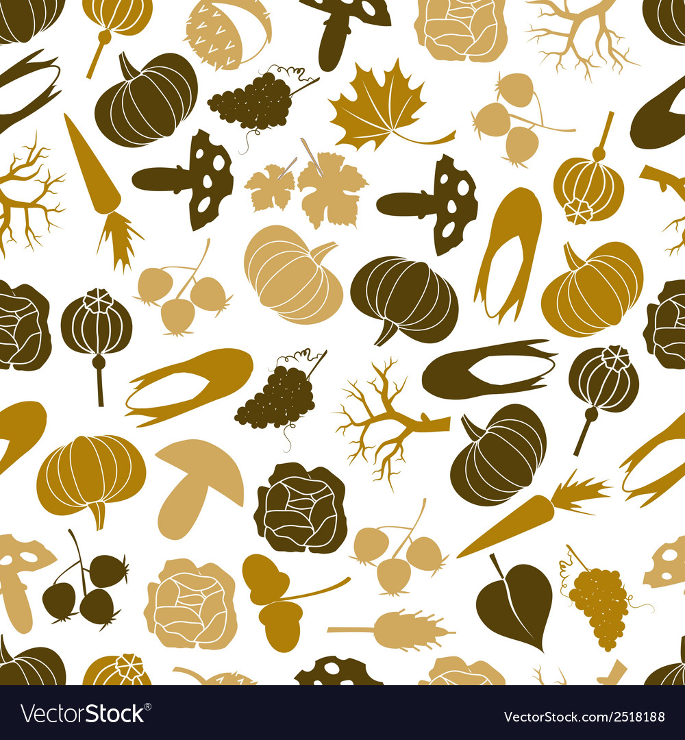 Autumn icons color pattern eps10 vector | Price: 1 Credit (USD $1)