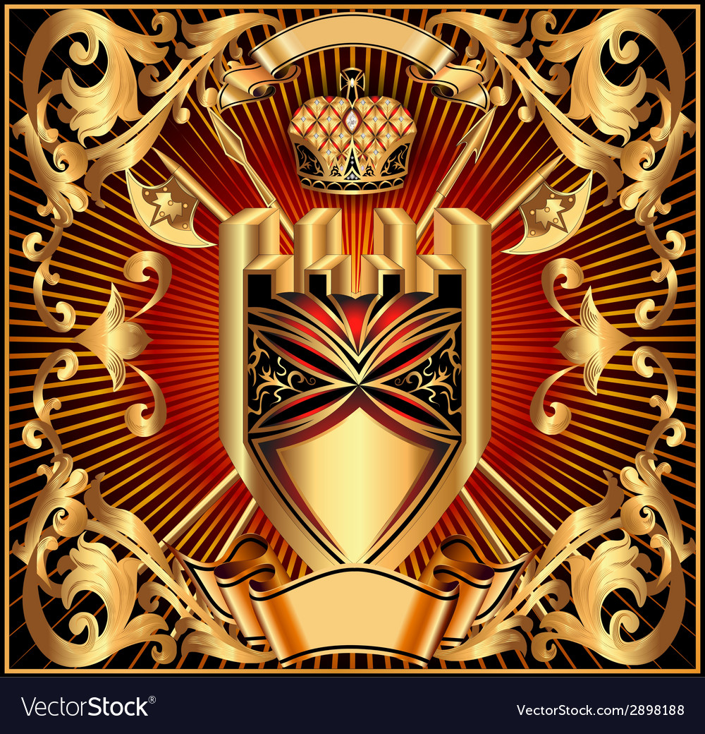 Background with a gold shield vector | Price: 1 Credit (USD $1)
