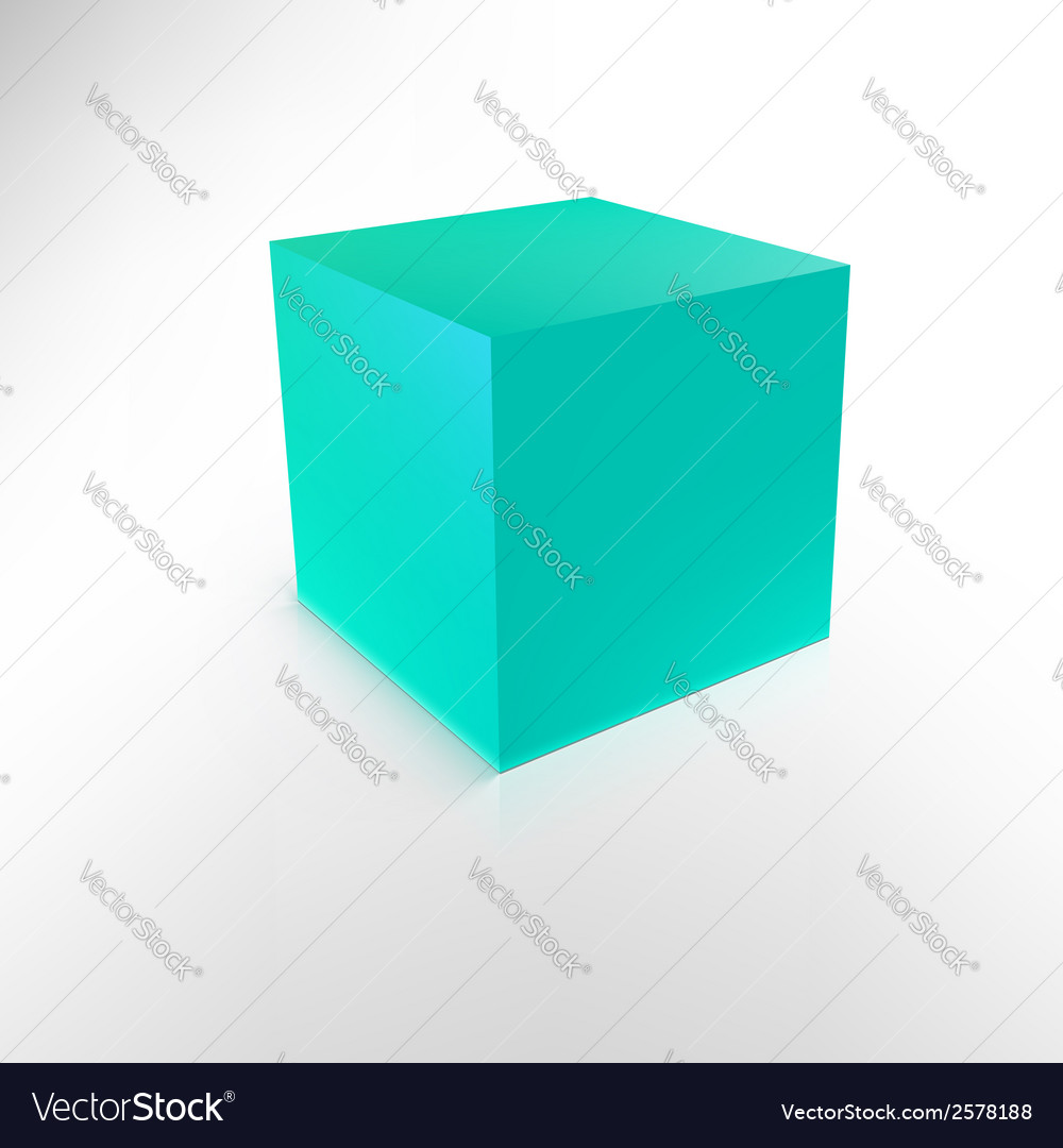 Blue cube with shadow and reflection isolated on vector | Price: 1 Credit (USD $1)