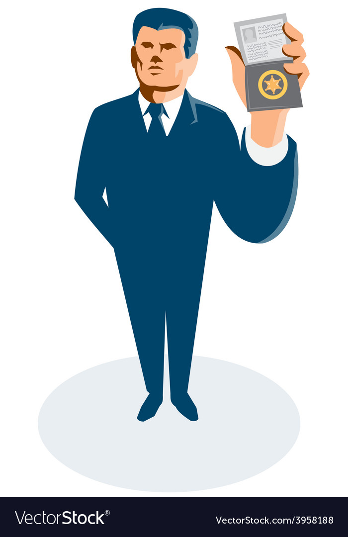 Businessman secret agent showing id card badge vector | Price: 1 Credit (USD $1)