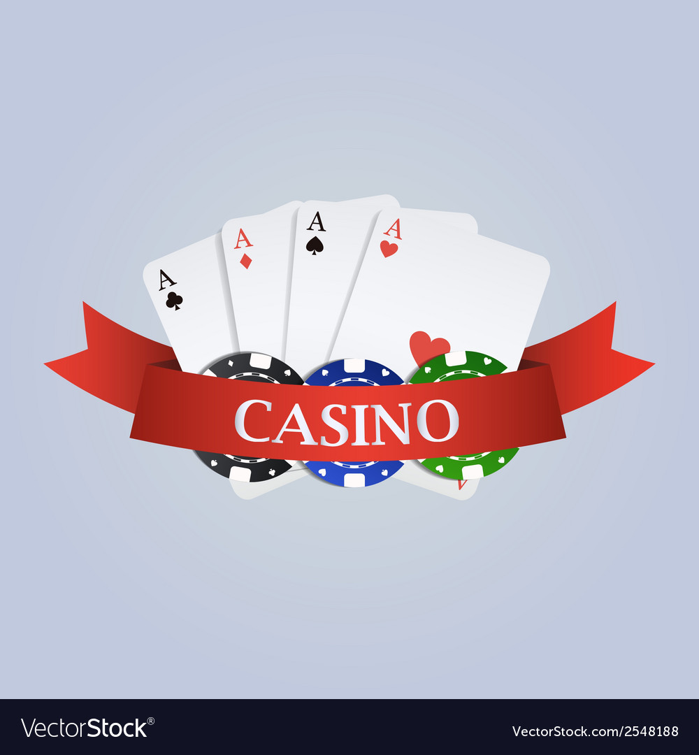 Casino with ribbon playing cards and chips vector | Price: 1 Credit (USD $1)