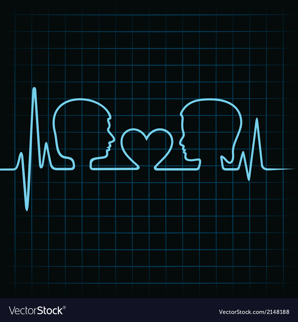 Heartbeat make malefemale face and heart symbol vector | Price: 1 Credit (USD $1)