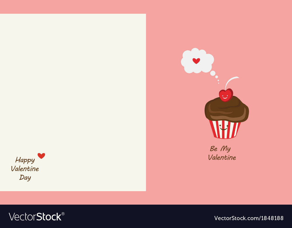 Muffin and cherry best friends happy valentines vector | Price: 1 Credit (USD $1)
