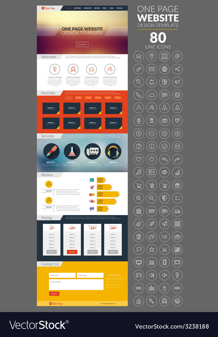 One page website template with icon set vector | Price: 1 Credit (USD $1)