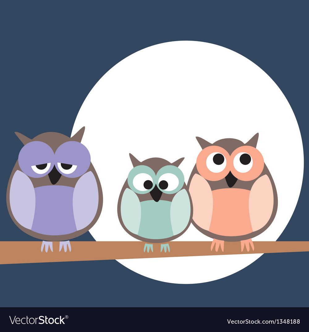 Owl family on tree at night vector | Price: 1 Credit (USD $1)