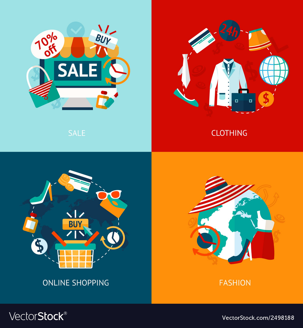 Shopping clothing flat icons set vector | Price: 1 Credit (USD $1)