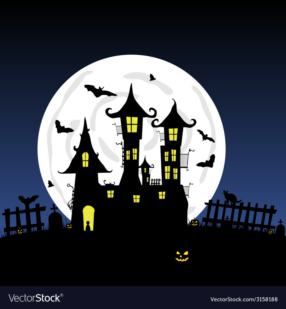 Sweet and beauty castle with bats part four vector | Price: 1 Credit (USD $1)