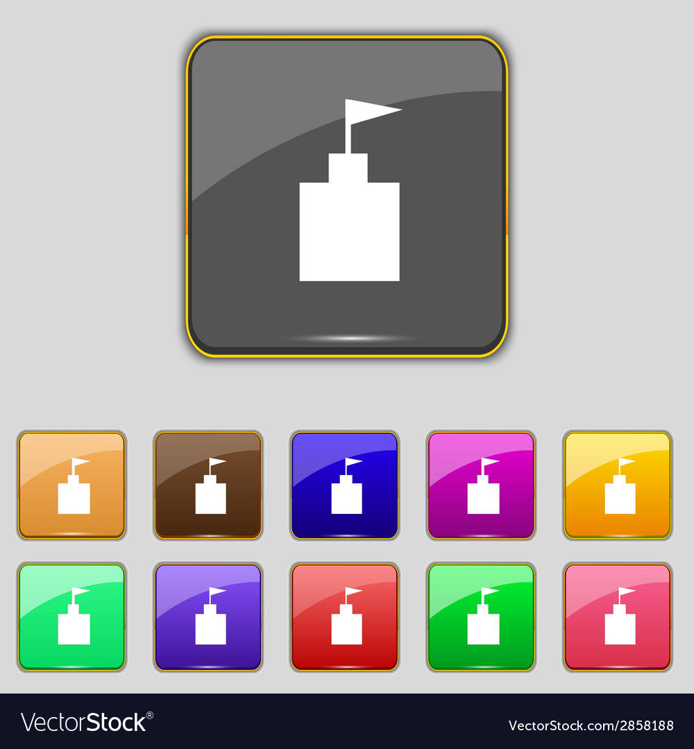 Tower icon set flat modern web colour button vector   Price: 1 Credit (USD $1)