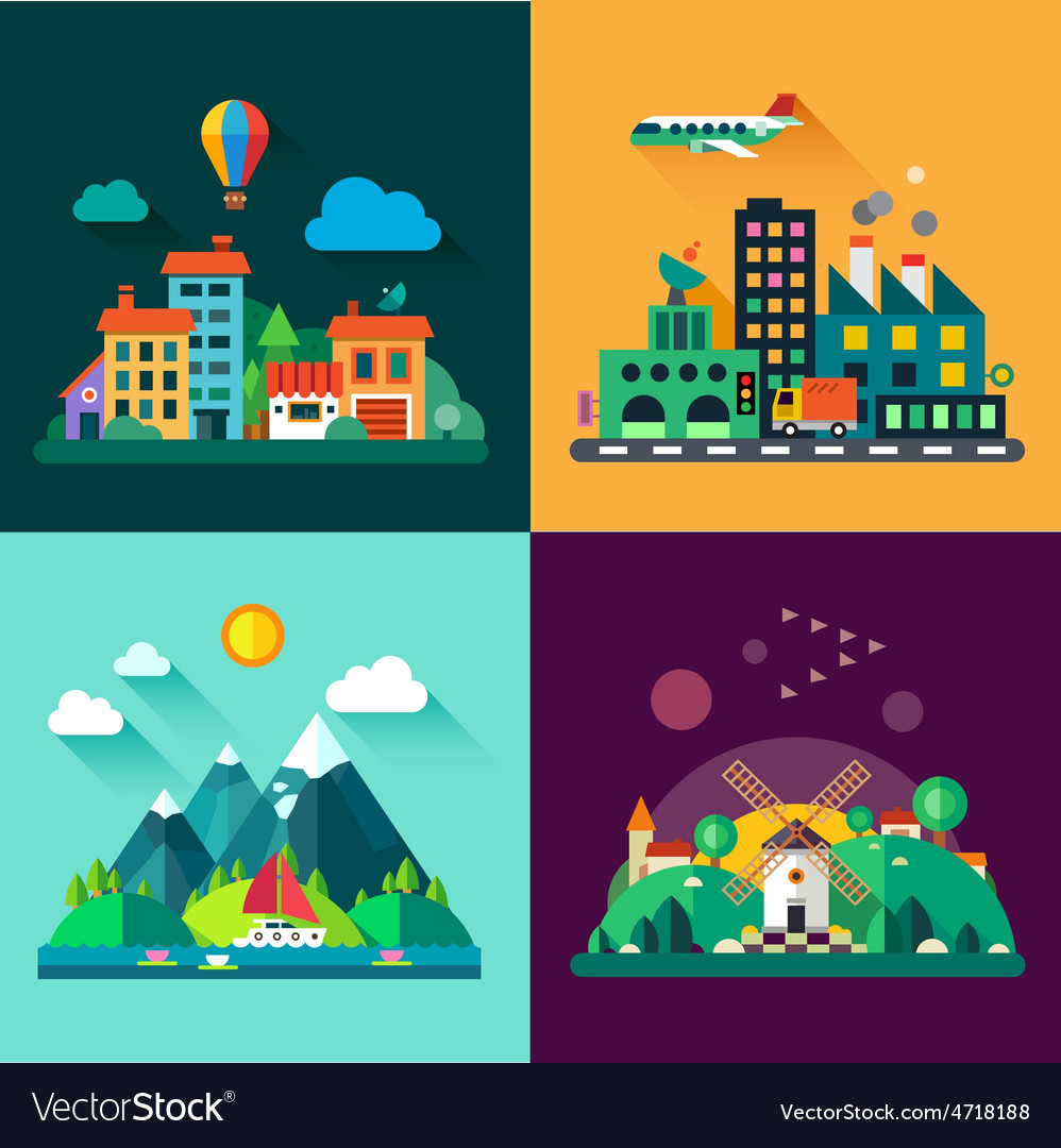 Urban and village landscapes vector | Price: 3 Credit (USD $3)