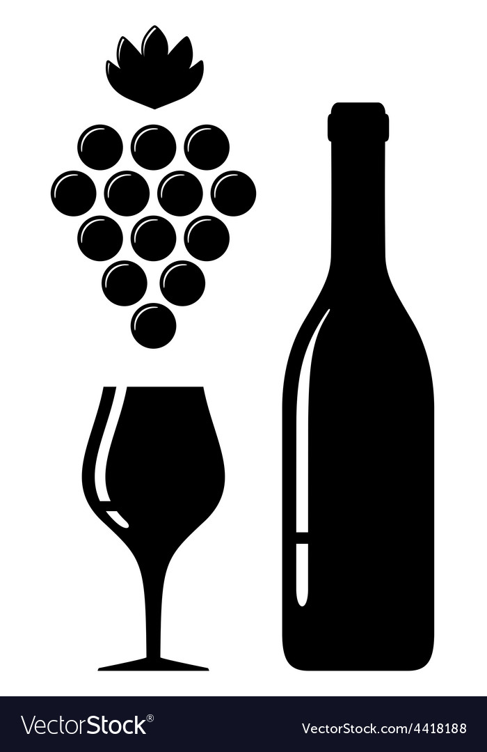 Wine glass and bottle silhouette vector | Price: 1 Credit (USD $1)