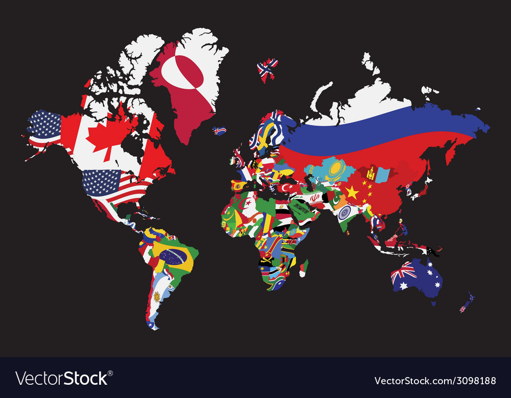 World map with flag vector | Price: 1 Credit (USD $1)