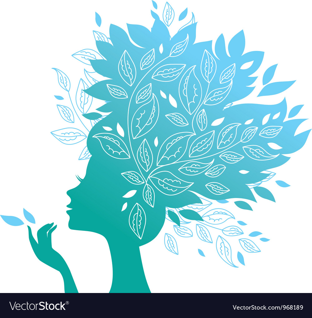 Beautiful woman silhouette with a flowers vector | Price: 1 Credit (USD $1)