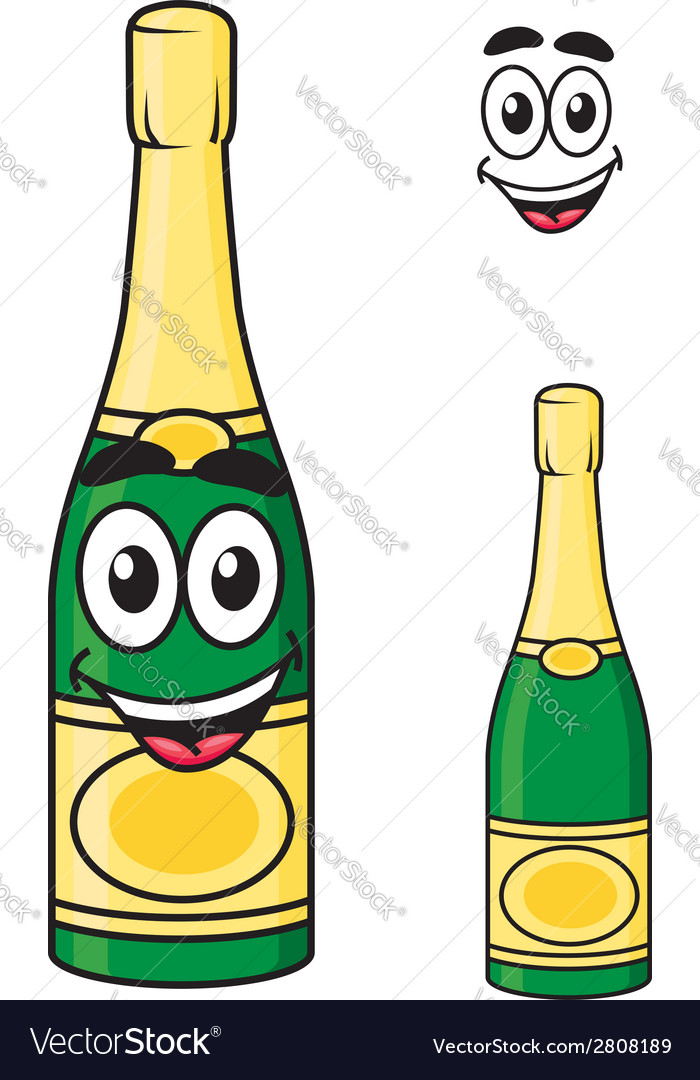 Carton champagne or sparkling wine bottle vector | Price: 1 Credit (USD $1)