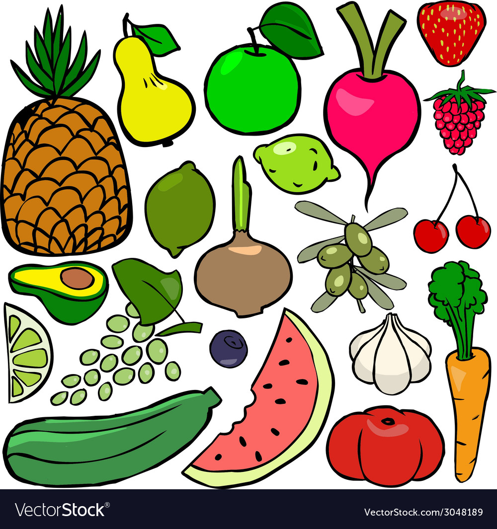 Cartoonish fruits and vegetables vol 2 vector | Price: 1 Credit (USD $1)