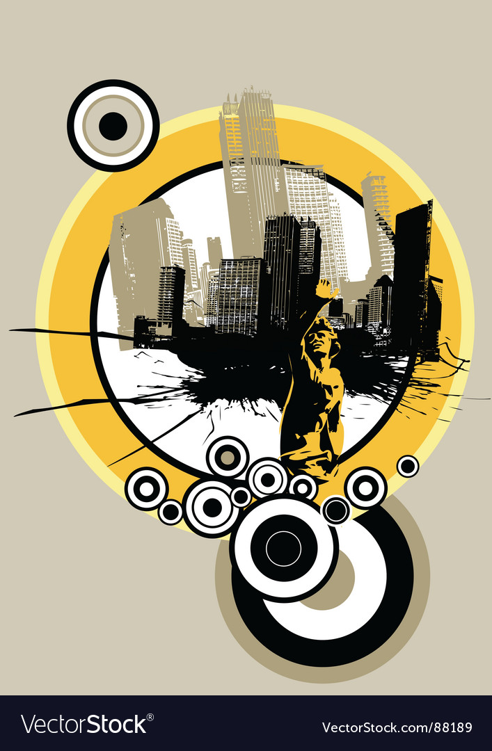City with circles vector | Price: 1 Credit (USD $1)