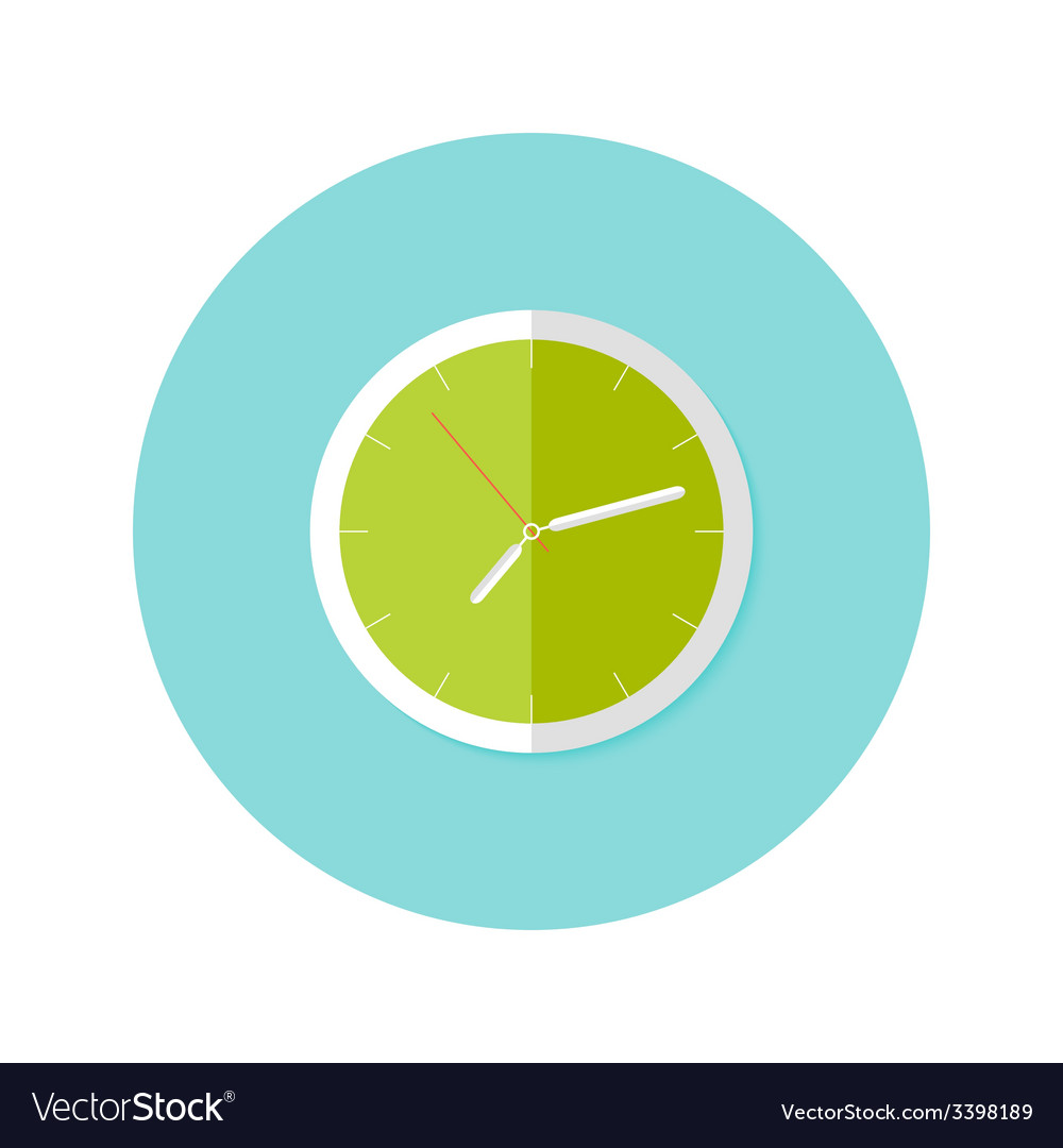 Clock flat circle icon over blue vector | Price: 1 Credit (USD $1)
