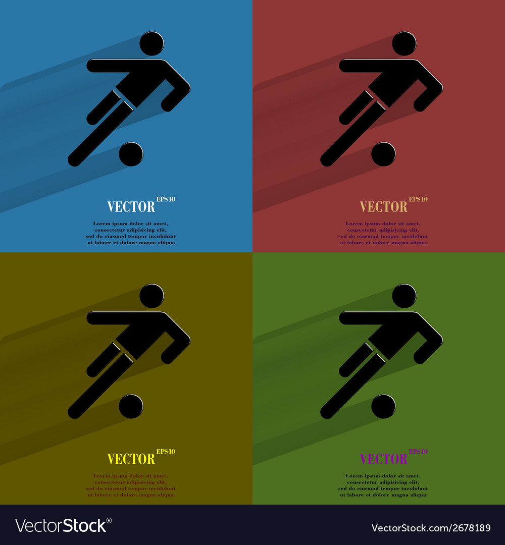 Color set football player flat modern web button vector | Price: 1 Credit (USD $1)