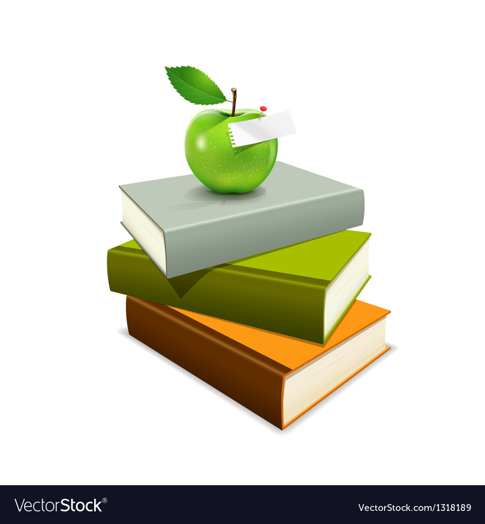 Colorful book and green apple vector | Price: 3 Credit (USD $3)