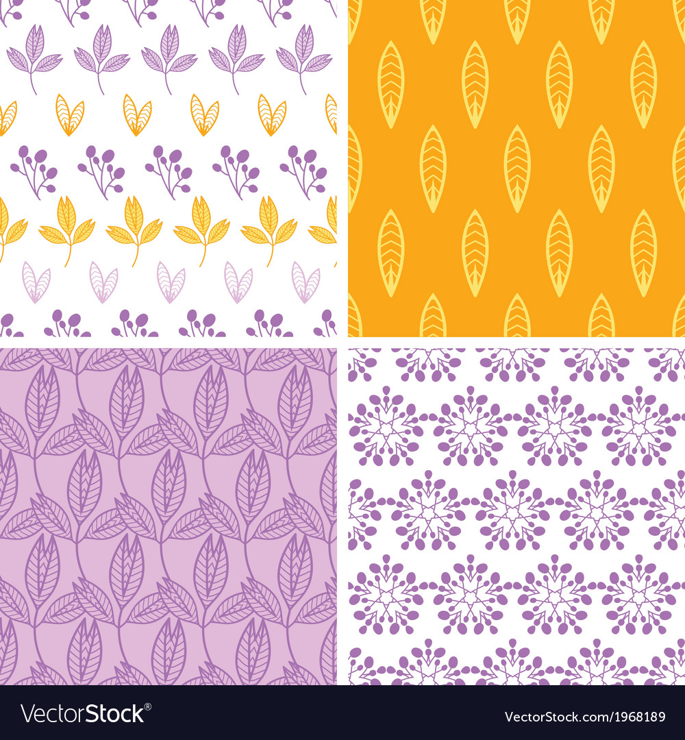 Four abstract pink purple yellow folk leaves vector | Price: 1 Credit (USD $1)