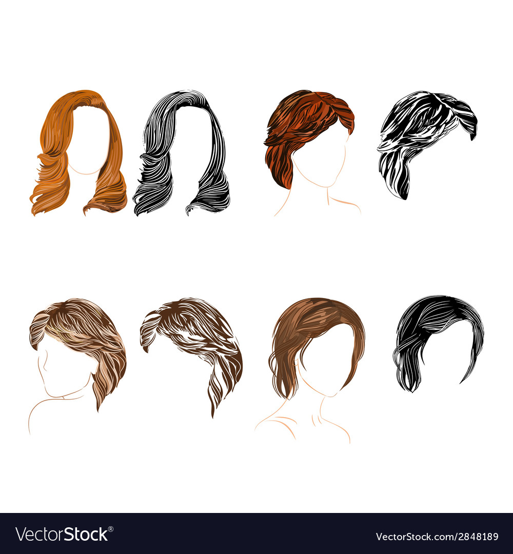 Hair natural and silhouette vector | Price: 1 Credit (USD $1)