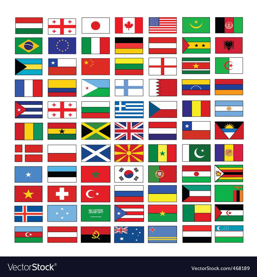 Multinational flags vector | Price: 1 Credit (USD $1)