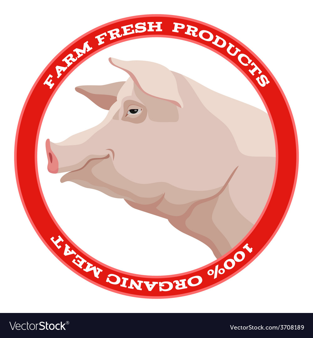 Pig label red vector | Price: 1 Credit (USD $1)