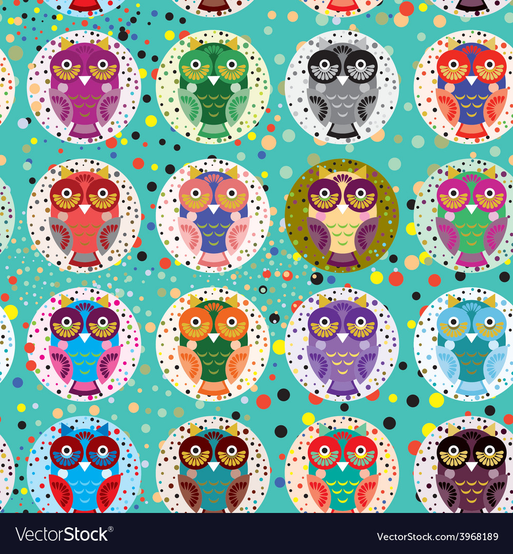 Seamless pattern with funny colored owls on a vector | Price: 1 Credit (USD $1)