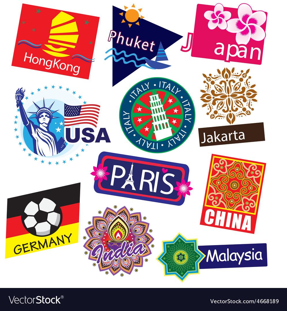 World country travel landmark icon set vector | Price: 3 Credit (USD $3)